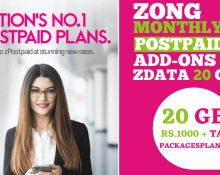 Zong Monthly zData 20GB Add-on Package