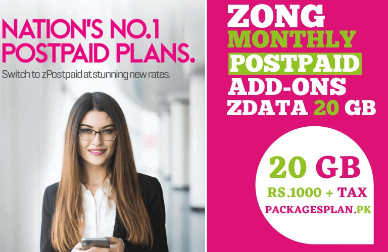 ZONG POSTPAID ADD-ONS 20GB