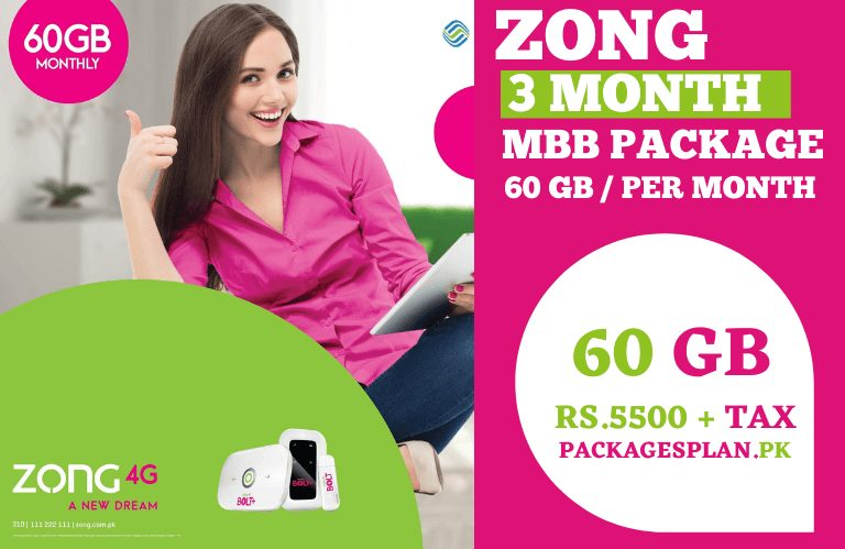 Zong 3 Months MBB Package 60GB