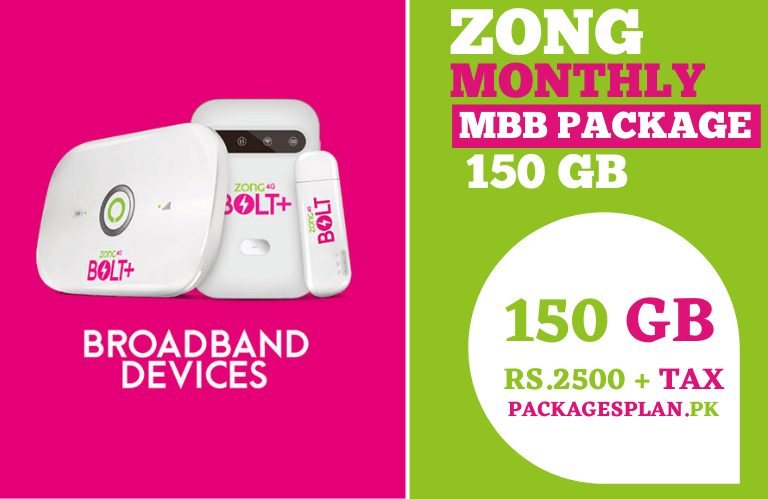 Zong Monthly MBB Package 150GB