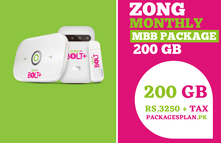 Zong Monthly MBB Package 200GB