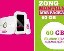 Zong Monthly MBB Package- 60GB