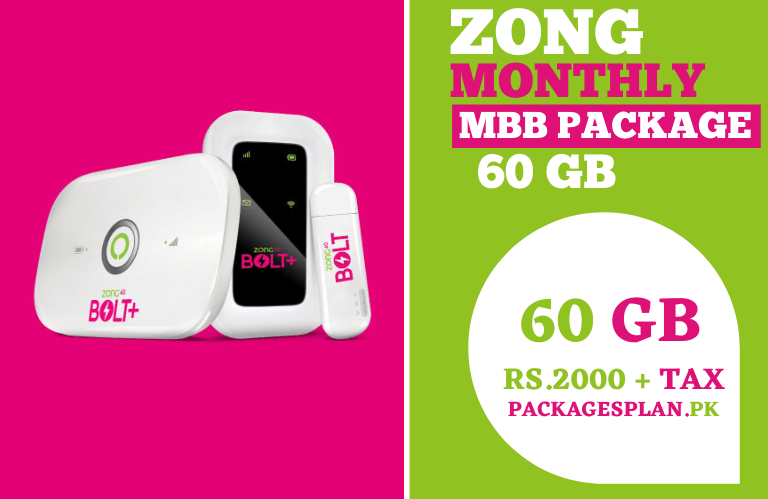 Zong Monthly MBB Package 60GB