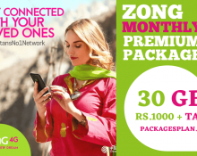 Zong Monthly Premium 30GB Package