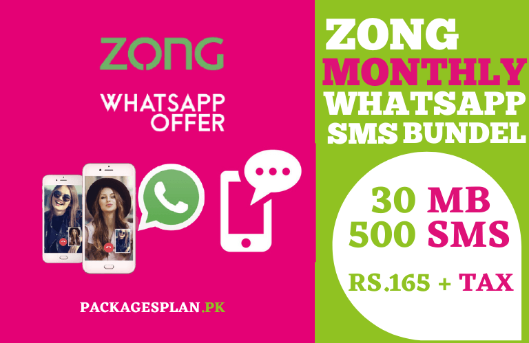 Zong Monthly SMS Zong Monthly WhatsApp Bundle