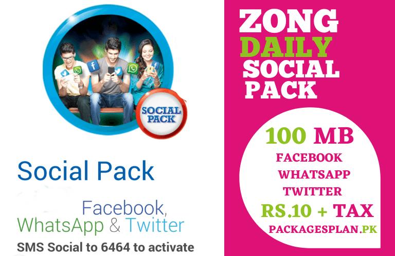 Zong Social Pack Facebook, WhatsApp, Twitter